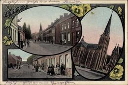 CPA Zonnebeke Westflandern, Stadtansichten, Kirche, Straßenpartie, Passanten - Belgien