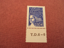 "2002    -timbre Neuf   ++   N° 3449      ""  Marianne De Luquet 0.50 Euro  ""   Coin Daté T.D.6-6            Net     2 - 1997-04 Marianne Du 14 Juillet"