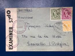 N°5 -14 -15 Sur Enveloppe 1946. Military Censorship Vers Belgique - American/British Zone