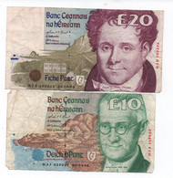 IRLANDE -( Central Bank Of Ireland )   1996 - 2 Billets De 10 Et 20 £ -  Usagés - Irlanda