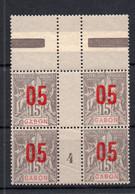 !!! PRIX FIXE : GABON, BLOC DE 4 DU N°68 AVEC MILLESIME 4 NEUF**, PLI DE GOMME D'ORIGINE - Unused Stamps