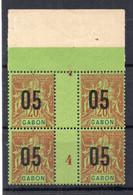!!! PRIX FIXE : GABON, BLOC DE 4 DU N°69 AVEC MILLESIME 4 NEUF, (LA PAIRE AVEC MILLESIME EST NEUVE **) - Unused Stamps