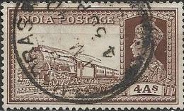 INDIA 1937 Mail Train - 4a - Brown FU - 1936-47 King George VI