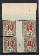!!! PRIX FIXE : GABON, BLOC DE 4 DU N°74 AVEC MILLESIME 4 NEUF ** - Unused Stamps