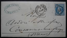 Chalons Sur Marne Ludot Frères Fers Fonte Quincaillerie 1868, Lettre Pour Cousances Aux Forges - 1849-1876: Période Classique