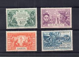 !!! PRIX FIXE : GABON, SERIE EXPO 1931 N°121/124 NEUVE * - Unused Stamps