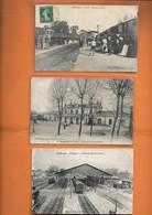24- Bergerac, 3 Cpa De La Gare: *arrivée Des Trains(Astruc), La Sortie De La Gare Et Le Nouveau Hall(Louis Garde) - Bergerac