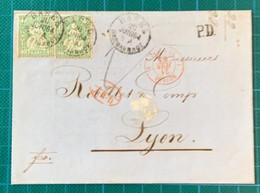 Suisse - N°Z34X2 Double Port -cad Basel 20/6/1864 - 7/AED(Huningue) - Entrée St Louis - - Brieven En Documenten