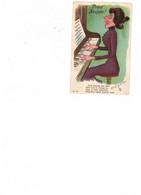 "OLD MAID / TEACHER Postcard, Germany, ""Prosit Neujhr"". Woman Singing At Piano, Pre-1920 Postcard - Cómics"