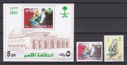 Saudi Arabia - 2001 - ( Palestinian Intifada - Palestinian Boy & Father ) - Set & S/S - MNH (**) - Arabia Saudita