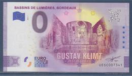 Zéro Euro Gustav Klimt D'Or Et De Couleur Bassins De Lumières Bordeaux Euro Souvenir Tour Eiffel De Londres Colyssé.... - Specimen