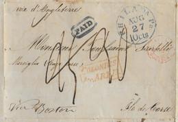 1847 - LETTRE De ABITAZIONE PASTILLAS => CAP CORSE Via BOSTON (USA) - CACHET TAXE BLEU+TAXE RECTIFIEE+ENTREE COLONIES+.. - Schiffspost
