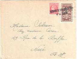 NICE RP ALPES MARITIMES Lettre 1F Maezlin 5F Jamborée Yv 787 676 Courrier Daté 24/8/1947 Griffe Arrivée Partie Daguin - Storia Postale