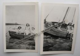 Porspoder Argenton 29 Finistère Bretagne 1947 Femme Enfant Fille Sur Bateau Et Barque Petite Photo Originale Lot De 2 - Lugares