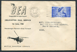 1948 GB BEA Helicopter Flight Cover. Peterborough - Diss - Covers & Documents