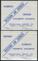 1933 GB Western Air Express Airmail Flight X2 Mint, Parcel / Mail Bundle Labels Croydon + Plymouth - Covers & Documents