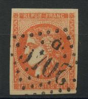 France (1870) N 48a (o) Orange Vif (signe) - 1870 Emission De Bordeaux