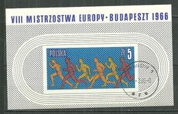 POLAND Oblitéré Bloc 45 Championnats D'Europe D'athlétisme à Budapest Sport Sportif - Blocks & Sheetlets & Panes