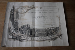 Diplôme Des Victimes De L'Invasion 1914 1918      WWI  Médaille - 1914-18