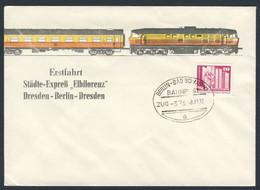 "DDR Germany 1976 Brief Cover - 1Erstfahrt Städte-Expreẞ ""Elbflorenz"" Dresden-Berlin-Dresden - Bahnpost - Treni"