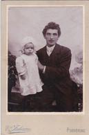 """Photo Foto - Formato """"Margherita"""" - Uomo Con Figlioletto - Years  '1890 - V. Falomo, Pordenone - Antiche (ante 1900)"""
