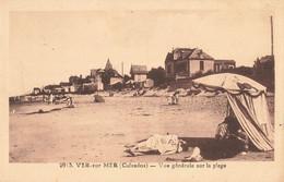 14 Ver Sur Mer Vue Générale Sur La Plage Cachet Convoyeur Ambulant Cherbourg à Caen - Autres Communes