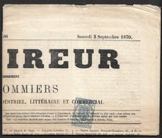 """France Journaux, N°2 Sur Journal Entier """"L'Eclaireur"""". Cote + 950€ - Periódicos"""