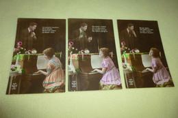 LOT DE 3 CARTES FANTAISIES....HOMME OBSERVANT UNE FEMME AU PIANO..... - Frauen
