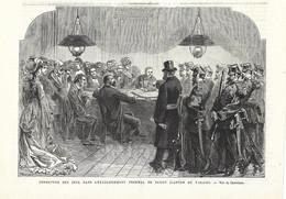 GRAVURE De 1878.. SUISSE.. Fermeture Des Jeux Dans L'Etablissement Thermal De SAXON ( Canton De Valais) - Stiche & Gravuren