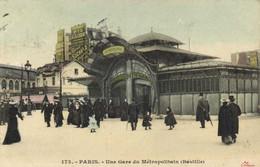 PARIS Une Gare Du Métropolitain ( Bastille) Colorisée  Recto Verso - Metropolitana, Stazioni
