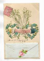 Magnifique Carte Fantaisie  Avec Ajout De Fleurs Et  Brillants. Petite Pochette En Partie Basse. - Other