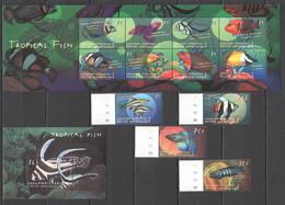 F879 GRENADA CARRIACOU FAUNA FISH & MARINE LIFE TROPICAL FISH !!! KB+BL+SET MNH - Vita Acquatica