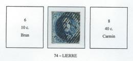 COB 7 Filigramme Non Encadré - Bureaux De Perception - 17 Barres Horiz. - P74 Lierre - 1851-1857 Medallions (6/8)