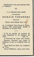 Souvenir Mortuaire TONDEURS Romain (1851-1935) Né à LOMBEEK NOTRE-DAME Mort à BRUXELLES - Andachtsbilder