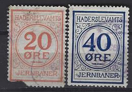 Denmark Railway Parcel  Stamps Haderslevamts Jernbaener  2 Stamps. 20oere Defect Usedt.Trains/Railways /Eisenbahnmarken - Treni