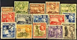 MALTA 1938/43 - Canceled - Sc# 191-200, Without 194A! - Malta (...-1964)