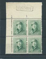 N° 167 ** EN BLOC DE 4 AVEC MARQUE DEPOT 1919 - 1919-1920 Roi Casqué