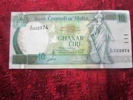 BANK CENTRALI TA MALTA MALTE 10 LIRI L.1967 Monnaies & Billets  Billet Malte 10 LIRAS DEL AÑO 1967 (BANKNOTE) - Malte
