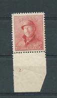 N° 168 ** BDF  AVEC N° DE PLANCHE 2 - 1919-1920 Roi Casqué