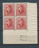 N° 168A ** EN BLOC DE 4  AVEC MARQUE DEPOT 1919 - 1919-1920 Roi Casqué