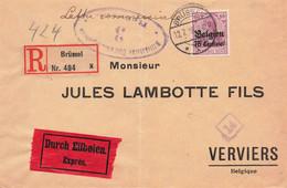 DR Besetzung 1918 Belgien Einschreiben Reco Eil Brief Brüssel N. Verviers EF MI.6 - Occupation 1914-18
