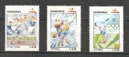 HONDURAS 1992 - OLYMPICS BARCELONA '92 - YVERT Nº 281-283 - MICHEL 1136-1138 - SCOTT 374-376 - Nuevos
