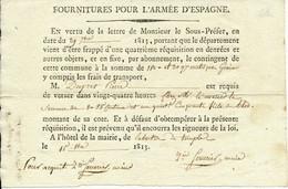 LABASTIDE DU TEMPLE, 82 - Fournitures Pour L'Armée D'Espagne - 1er Empire, 1813 - Historische Documenten