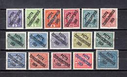 Checoslovaquia   1919   .-  Y&T  Nº     43/58 - Gebraucht