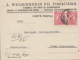 Romania - Advertising Postcard, Musical Instruments 'L. WEGWNSTEIN & FII - TIMISOARA', 27.8.1927 - Vršac, Yugoslavia. - 1918-1948 Ferdinand, Charles II & Michael