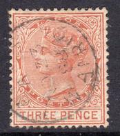 Nigeria Lagos 1882 3d Chestnut, Wmk. Crown CA, P. 14, Used, SG 19 (BA) - Nigeria (...-1960)