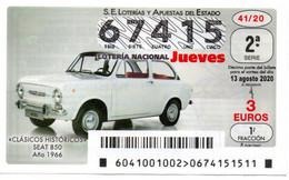 SPAIN LOTTERY TICKET VINTAGE AUTOMOVIL SEAT 850 . CAR VOITURE COCHE - Loterijbiljetten