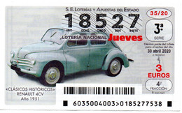 SPAIN LOTTERY TICKET VINTAGE AUTOMOVIL RENAULT 4CV . CAR VOITURE COCHE - Loterijbiljetten