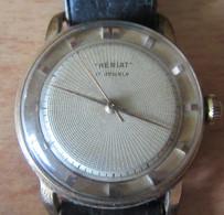 Montre Vintage Homme De Marque HERIAT (17 Jewels) - Mouvement Mécanique - Boîtier Plaqué Or - Poinçons - Vers 1970 - Orologi Antichi