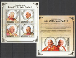 ST2483 !!! GOLD 2014 MOZAMBIQUE MOCAMBIQUE FAMOUS PEOPLE CANONIZATION POPE JOAO XXIII KB+BL MNH - Popes